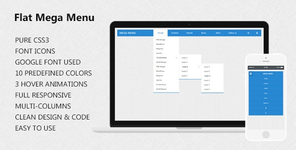 CSS3 Flat Mega Menu - CodeCanyon Item for Sale