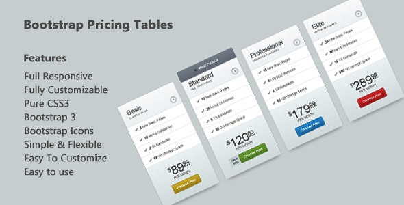 Bootstrap Pricing Tables - Pure CSS3 - CodeCanyon Item for Sale