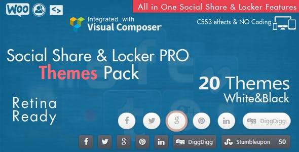 Social Share & Locker Pro Theme Pack (W&B)