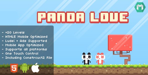 Panda Love - HTML5 Game (Construct 2 & Construct 3)