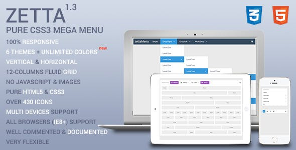 Zetta Menu - CSS3 Mega Menu and Drop Down menu