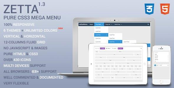 Zetta Menu - CSS3 Mega Menu and Drop Down menu