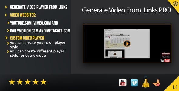 Generate Video From Links PRO ( Wordpress Plugin )