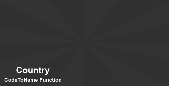 Country CodeToName Function - CodeCanyon Item for Sale