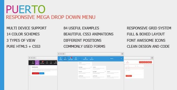 Puerto Responsive Mega Drop Down Menu - CodeCanyon Item for Sale