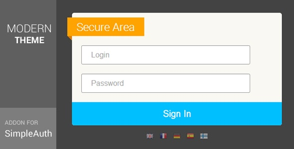 Modern Theme for SimpleAuth : Simple Secure Login  - CodeCanyon Item for Sale