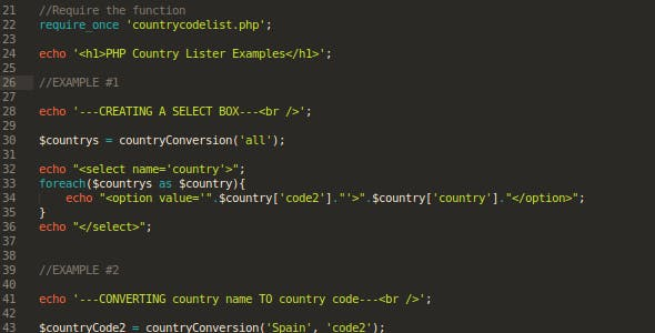PHP Country List