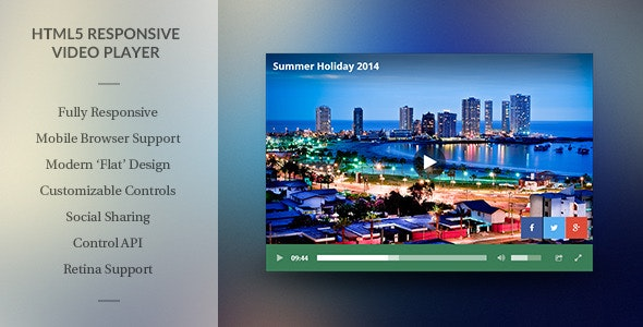 Modern HTML5 Responsive Video Player - CodeCanyon Item for Sale