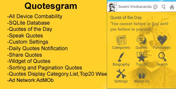 Quotesgram - Single Author Quotes App - CodeCanyon Item for Sale