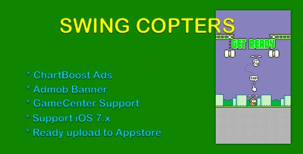 Swing Copter Clone - Admob, ChartBoost, GameCenter