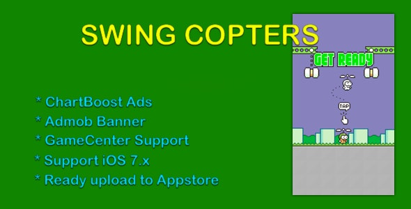 Swing Copter Clone - Admob, ChartBoost, GameCenter - CodeCanyon Item for Sale