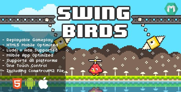 Swing Birds - HTML5 Game (Construct 2 & Construct 3)