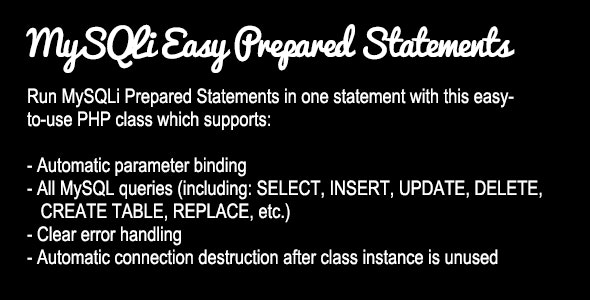 MySQLi Easy Prepared Statements  - CodeCanyon Item for Sale