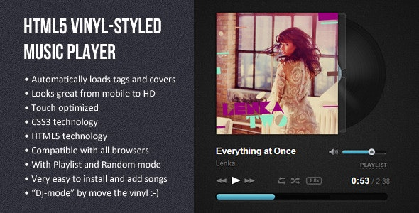 HTML5 Vinyl-styled Music Player - CodeCanyon Item for Sale