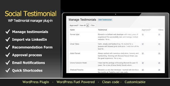 WordPress Testimonials Manager