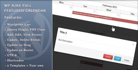 WP Ajax Full Featured Calendar  - CodeCanyon Item for Sale
