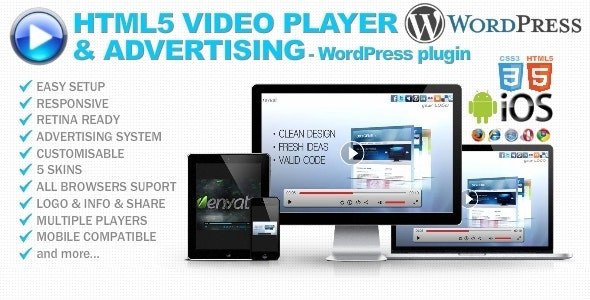 HTML5 Video Player & Advertising - WP plugin - CodeCanyon Item for Sale