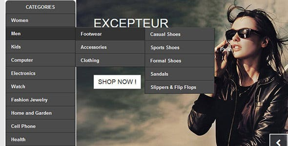 Prestashop Module :: Vertical Flyout menu