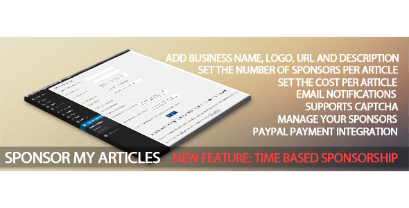 Sponsor My Articles - CodeCanyon Item for Sale