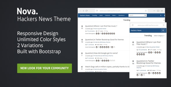 Nova : Hackers News Theme - CodeCanyon Item for Sale