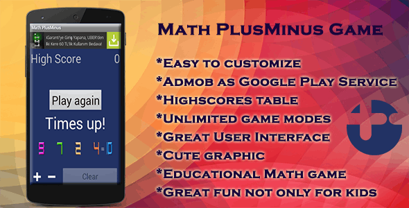 Math PlusMinus Game - CodeCanyon Item for Sale