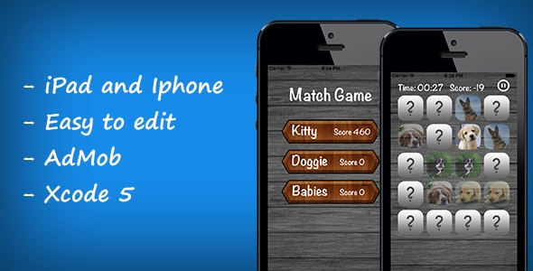 Match/Memory Game: iPhone, iPad + Admob - CodeCanyon Item for Sale