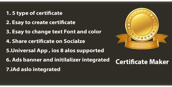 Certificate Maker Universal Admob & iAd - CodeCanyon Item for Sale