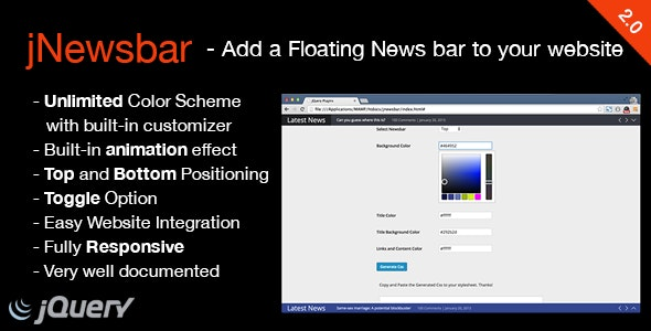 JNewsbar - jQuery Floating News Ticker Bar - CodeCanyon Item for Sale