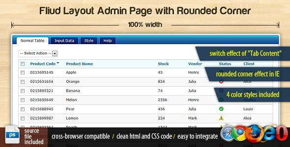 Fluid Layout Admin Page with Rounded Corner