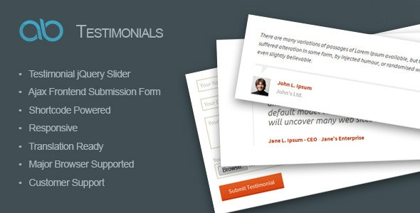AB Testimonial WordPress Plugin - CodeCanyon Item for Sale