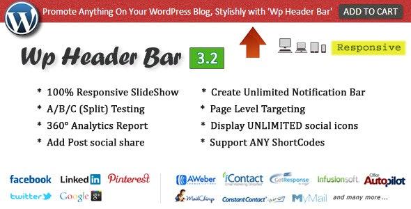 Wp Header Bar - WordPress Notification Bar by pixelacehq