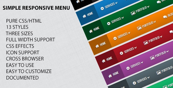 Simple Responsive Menu - CodeCanyon Item for Sale