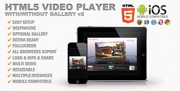 Responsive HTML5 Video Player & Gallery