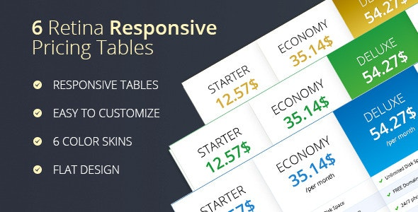 Retina Responsive Pricing Plans - CodeCanyon Item for Sale