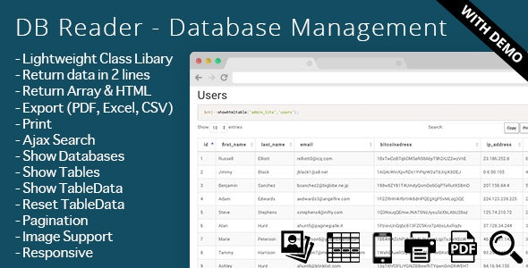 DB Reader - Database Management - CodeCanyon Item for Sale