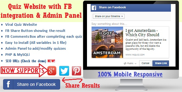 Facebook Viral Quiz Website with Admin Panel - CodeCanyon Item for Sale