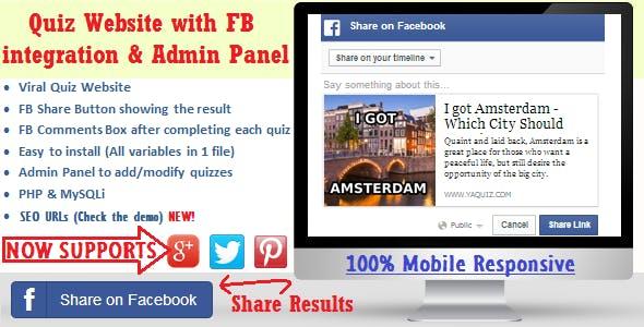 Facebook Viral Quiz Website with Admin Panel