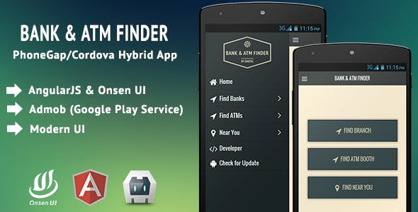 Bank & ATM Finder - PhoneGap/Cordova App Template