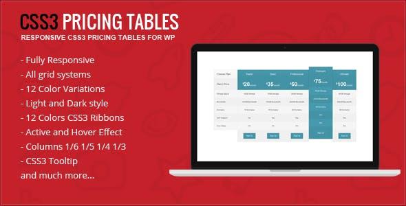 Responsive CSS3 Pricing Tables - WordPress Plugin
