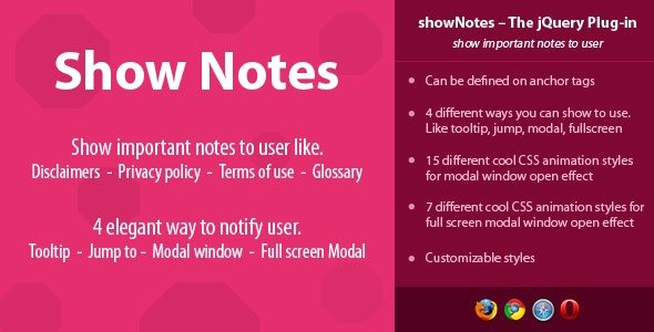 showNotes - show important notes to user - CodeCanyon Item for Sale