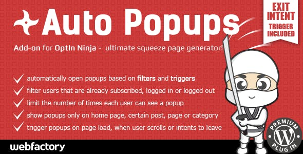 Auto Popups add-on for OptIn Ninja