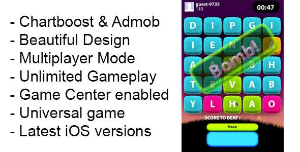 Word War iOS Game Universal Template iPhone