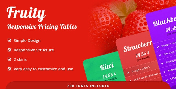 Fruity - Full Responsive Pricing Tables - CodeCanyon Item for Sale