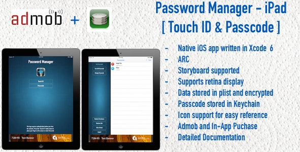 Password Manager for iPad - Touch ID & Passcode - CodeCanyon Item for Sale