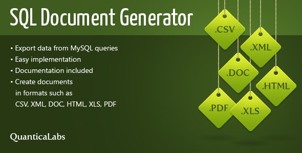 SQL Document Generator - CodeCanyon Item for Sale