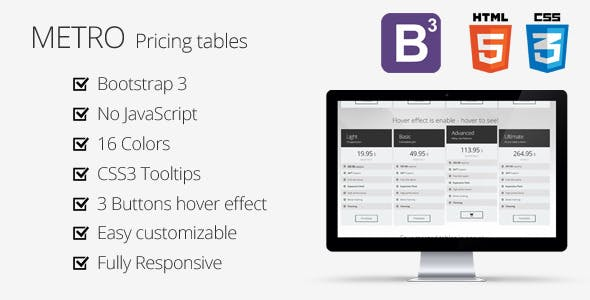 Bootstrap 3 - Metro Pricing Tables
