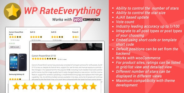 WordPress Rate Everything Star Rating Plugin - CodeCanyon Item for Sale
