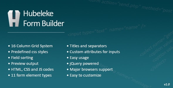 Hubeleke jQuery Form Builder - CodeCanyon Item for Sale