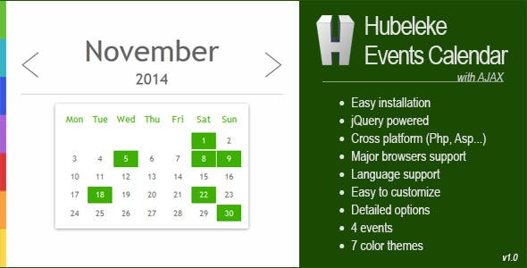 Hubeleke jQuery Events Calendar via Ajax