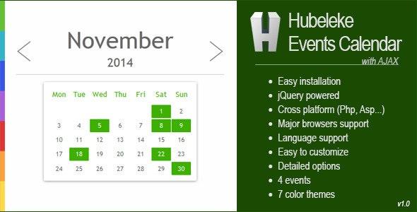 Hubeleke jQuery Events Calendar via Ajax - CodeCanyon Item for Sale